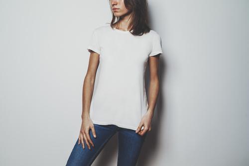 girl wearing blue jeans blank t shirt