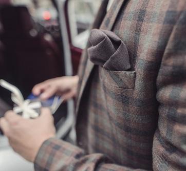 Handkerchief in his jacket Pocket