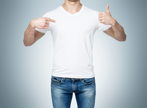 man pointing finger to blank t shirt