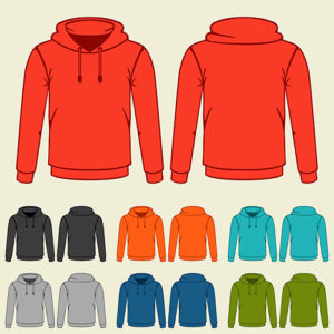 set of colored hoodies