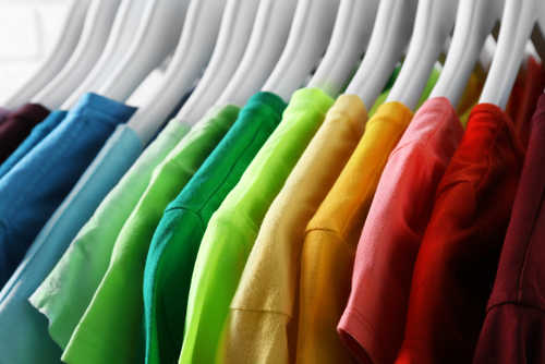 colorful t shirts on hangers