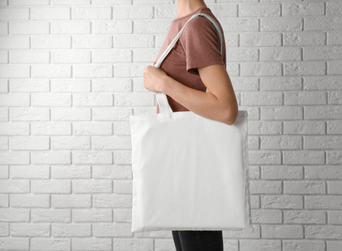 Woman with cotton tote