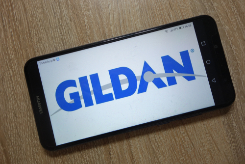 Gildan Activewear logo displayed on smartphone