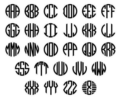 Set of letters to create circle monogram