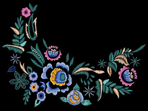 embroidered flowers on neck line