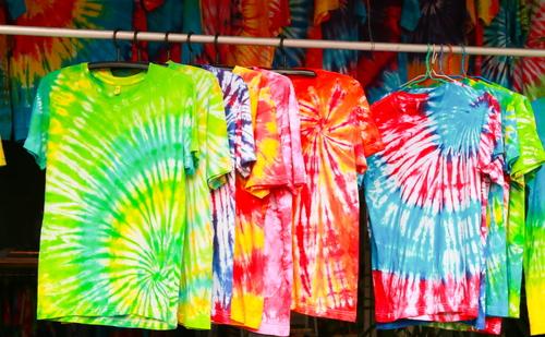 handmade tie dye shirts hanging