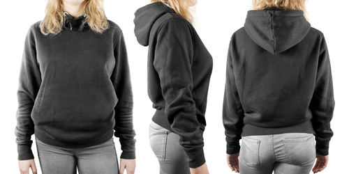 front back side view of blank sweatshirt