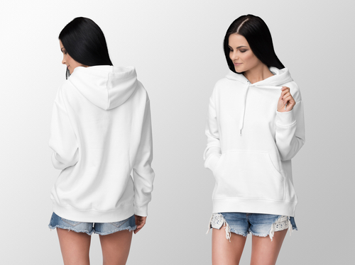 White hoodie on a young woman in shorts