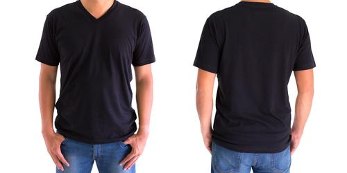 front back black v neck shirt